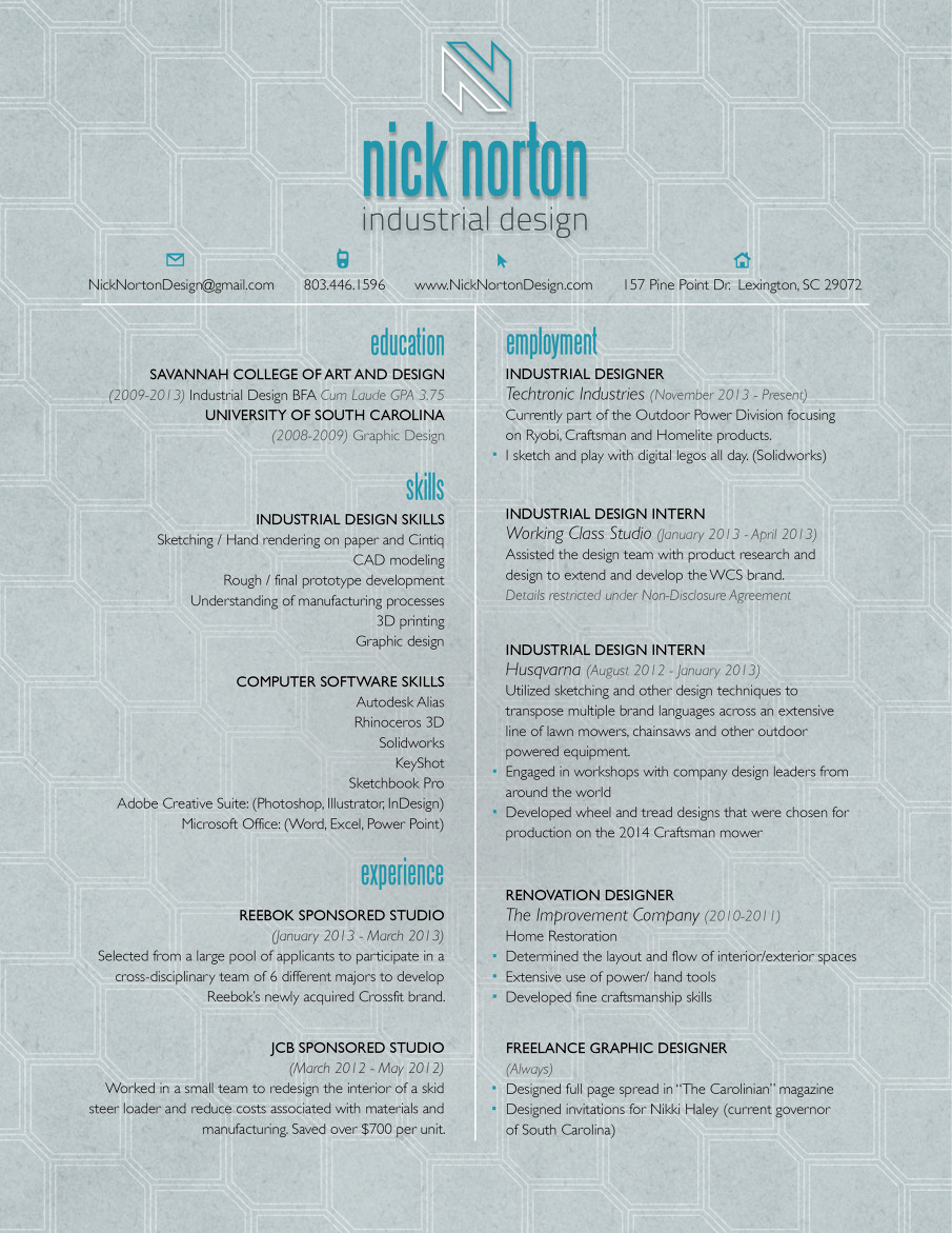 Industrial design resume